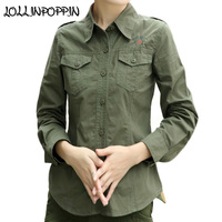 Military Style Women Army Green Shirt With Epaulets Long Sleeve Turn Down Collar Ladies Embroideried Casual Shirts Army Shirt