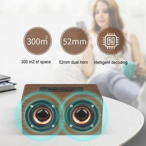 Image 5 - W5 10W 52MM כפול צופר עץ 4.2 Bluetooth רמקול עם AUX אודיו השמעת מיקרו USB ממשק עבור טלפון נייד/מחשב