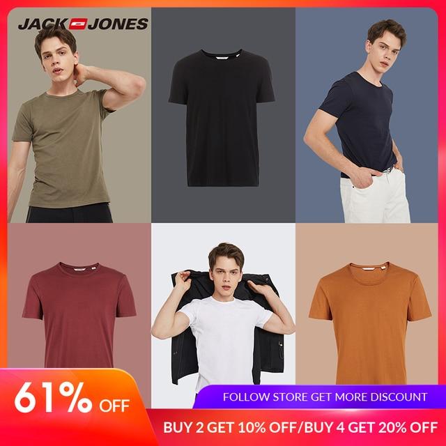 JackJones 2019 Brand New Men's Cotton T shirt Solid Colors T-Shirt Top Fashion tshirt men's Tee More Colors 3XL 2181T4517