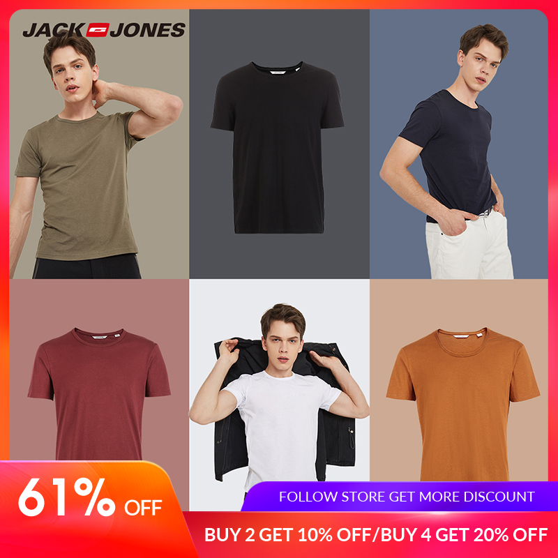 JackJones 2019 Brand New Men's Cotton   T     shirt   Solid Colors   T  -  Shirt   Top Fashion tshirt men's Tee More Colors 3XL 2181T4517