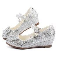 Обувь для девочек цвет серебристый, золотой вечерние свадебные Обувь принцессы Обувь кожа блеск кристаллов Стразы Клин бабочка узел обувь ...