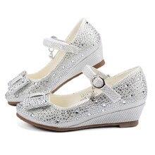Дівчата Срібна вечірка для весілля Весільне взуття Принцеса Взуття Шкіра Блиск Кристали Стрази Клин Бантфлі В'язання Дитяче взуття