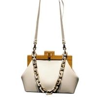 Women'S Box Bag Bucket Bag Wooden Clip Evening Bag Ins Acrylic Chain Luxury Handbag Banquet Party Purse Shoulder Bag