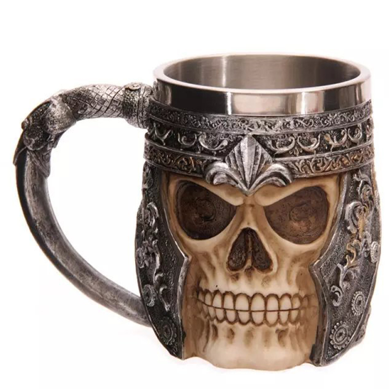 1Pcs 3D Axe Stainless Steel Skull Mug Resin gothic style skeleton handwork Beer Coffee Mug Tea Cup Halloween Bar Drinkware Gift