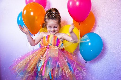 Summer Rainbow Girls Clothing Princess Girl Carnival Party Dress Colorful Baby Infant Tutu Mid Calf Length Dresses Costume children girl tutu dress super hero girl halloween costume kids summer tutu dress party photography girl clothing