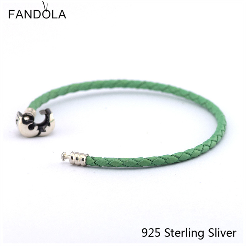 CKK 925 Sterling Silver Clasp Clip Green Chain Leather Bracelets - Fine Jewelry - Photo 3