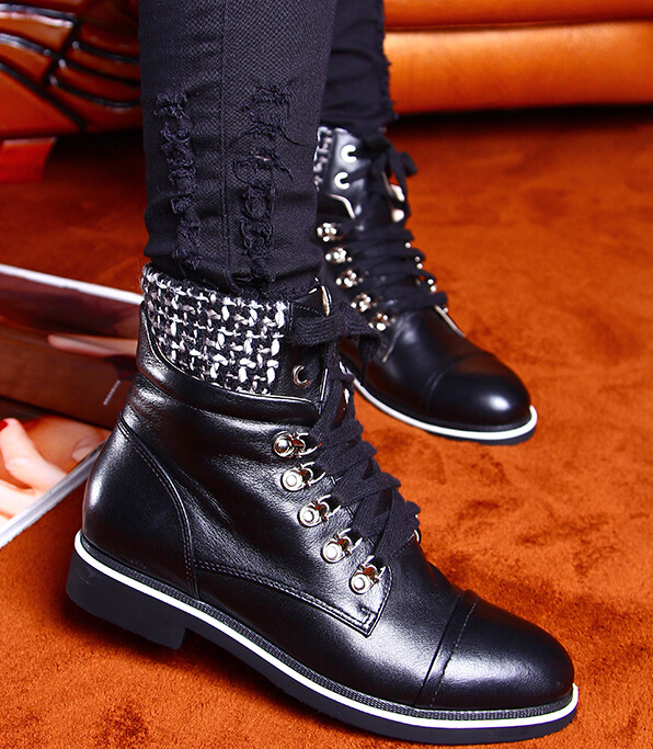 Europe and America Autumn Winter Women Flats Genuine Leather Lace Up Round Toe Fashion Ankle Martin Boots Size 34-39 SXQ0812 odetina fashion genuine leather ankle boots flat woman round toe platform lace up boots autumn winter casual shoes big size 43