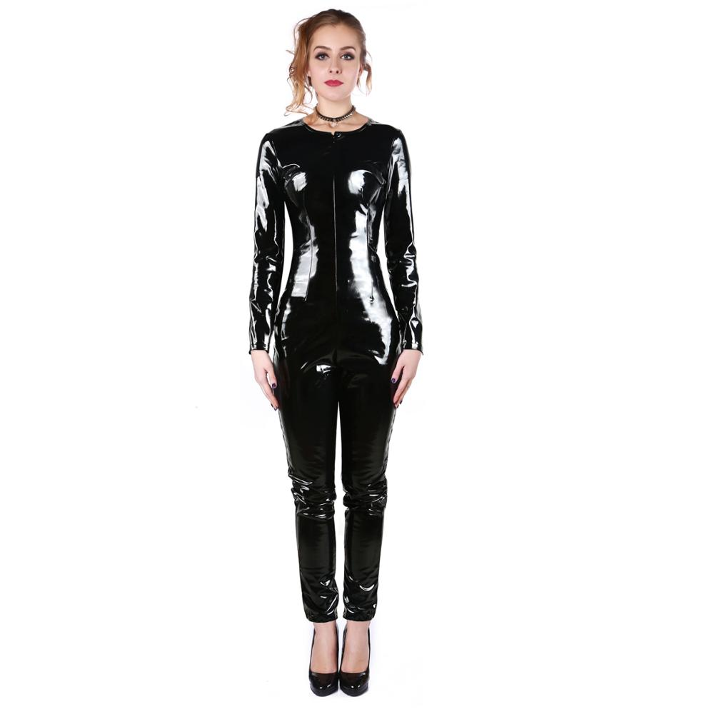 Women Black Vinyl PVC Leather Jumpsuit Catsuit Long Sleeves Zipper Shiny Exotic Cat Women Bodysuit