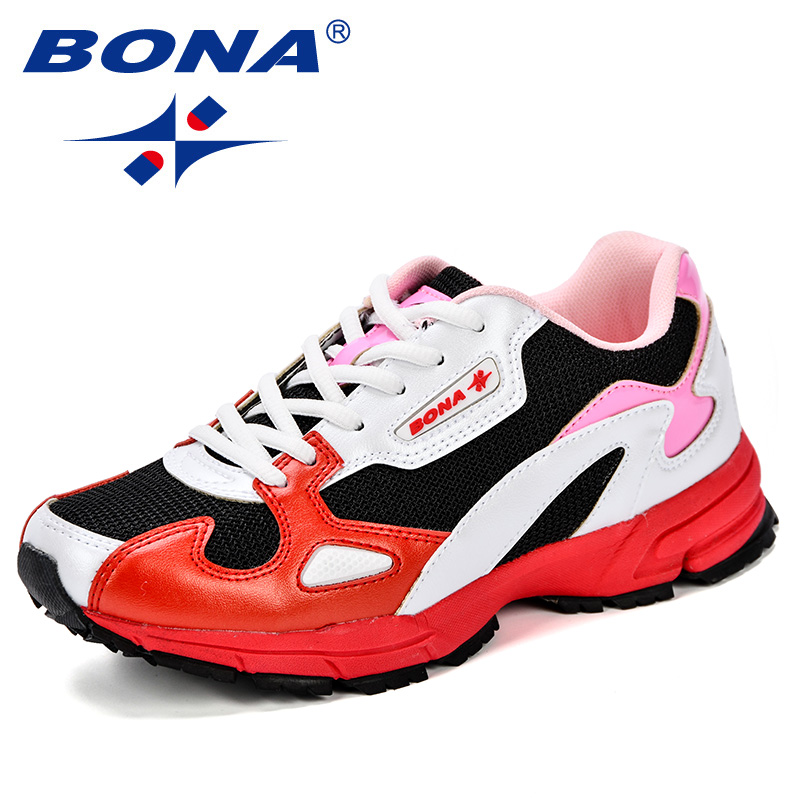 BONA Women Running Shoes 2018 New Arrival Lace-Up Breathable Mesh Sport Shoes Lady Outdoor Jogging Sneakers Trendy Comfy Shoes