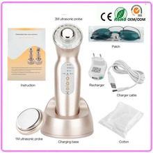 Free Shipping 4 IN 1 Head Changeable 1mhz & 3mhz Ultrasonic Galvanic Ion Bio Microcurrent Face And Body Beauty Massager Machine
