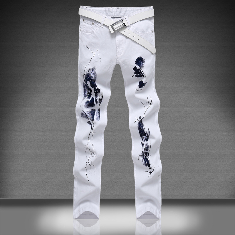 Brand solid white denim trousers men Casual Elastic printed jeans Cotton Straight Slim Cool Jeans For Men long pants size 46 2016 new mens jeans pants elastic mid rise straight men clothing tops trousers deep blue casual trousers cool stretch men jeans