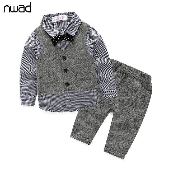 2017 Spring Autumn Clothes Set For Newborn Baby Boy Plaid Tie Clothing Suit Baby Outfit Long Sleeve T Shirt +Vest + Pant FF062