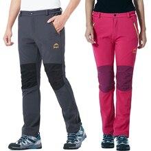 цена 3XL Women Men Winter Outdoor Pants Warm Fleece Waterproof Softshell Trousers Camp Trekking Climb Hiking Travel  Fish Sport Pants онлайн в 2017 году