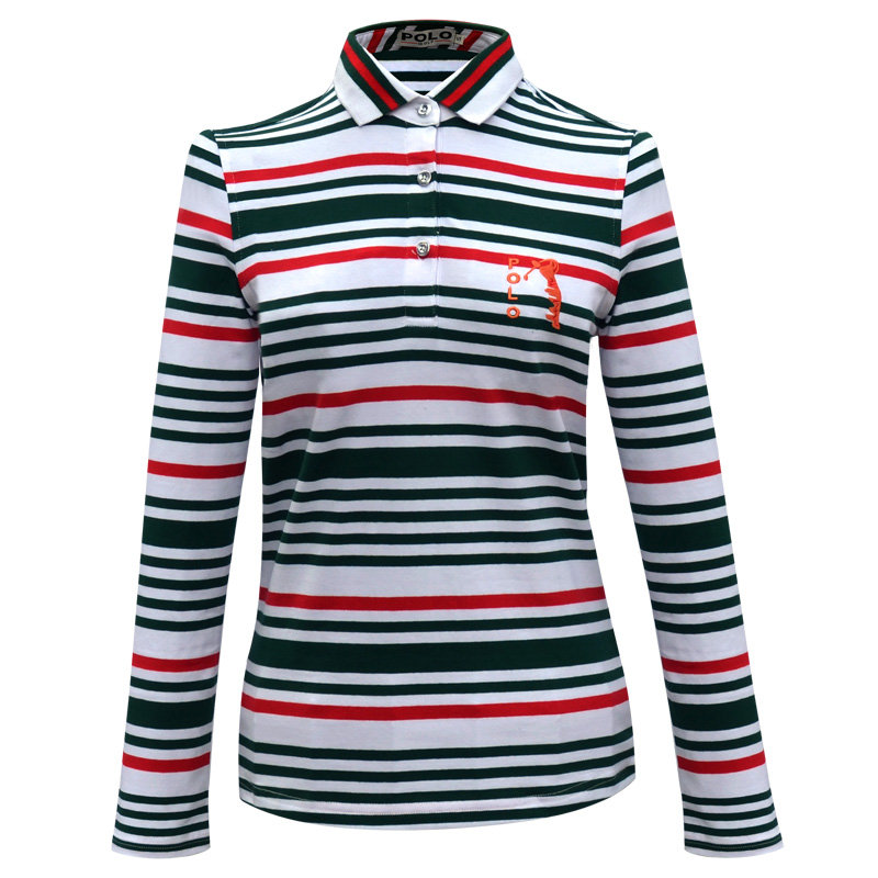Brand Polo Sport Top Tshirts Striped Women with Collar Polos Mujer Femme Uniform Lady Fashion Long Sleeve Shirt Golf Clothes New
