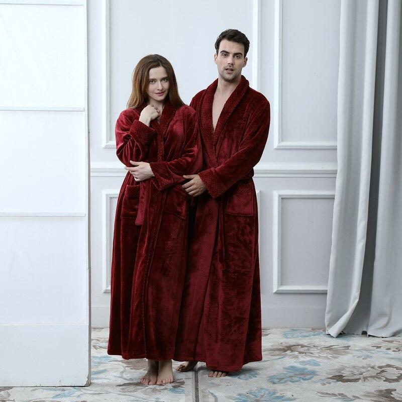 Women Bridesmaid Robes Bath Gown Winter Warm Thick Long Sleeve Flannel Bathrobe Female Sleepwear Lounges Casual Nightwear