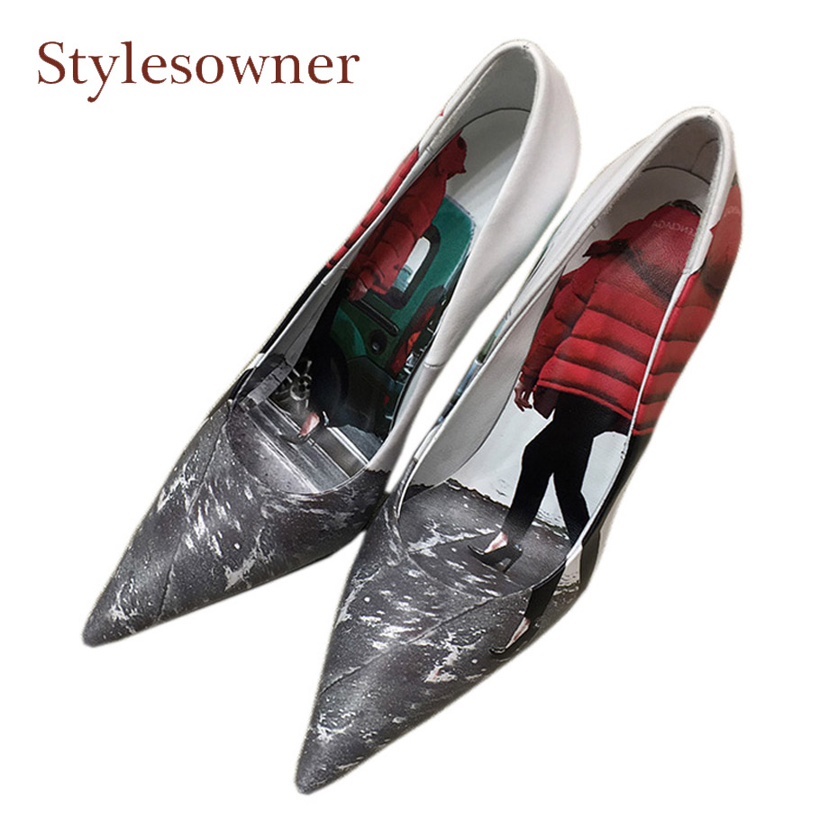 Stylesowner 2018 new personality feather dress print real leather women pumps sexy pointed toe thin high heel ladies party shoes все цены