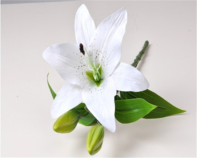 Lily Flower Arrangements Artificial White Yellow Pink Fake Flower ...