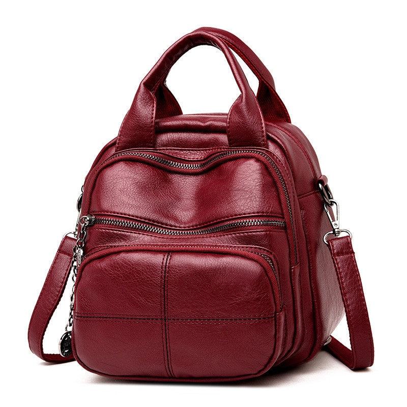 Korean Style Leisure Soft Leather Female Backpack 2018 Multifunction Travel Bag Mini Backpack Mom Women Shoulder Bag Sac A Dos
