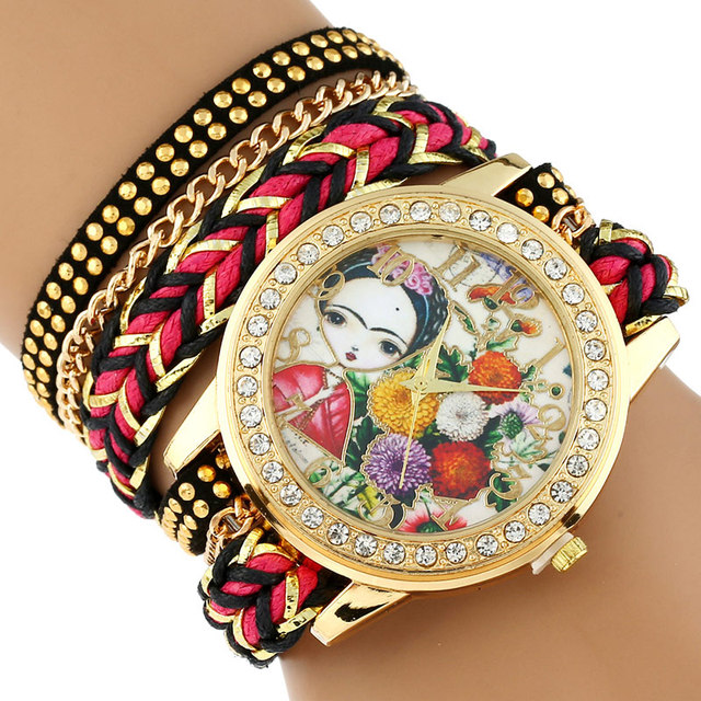 Gnova Platinum TOP Large Strap BIG Dial Ethnic mexican Girl Carnation flowers Fa