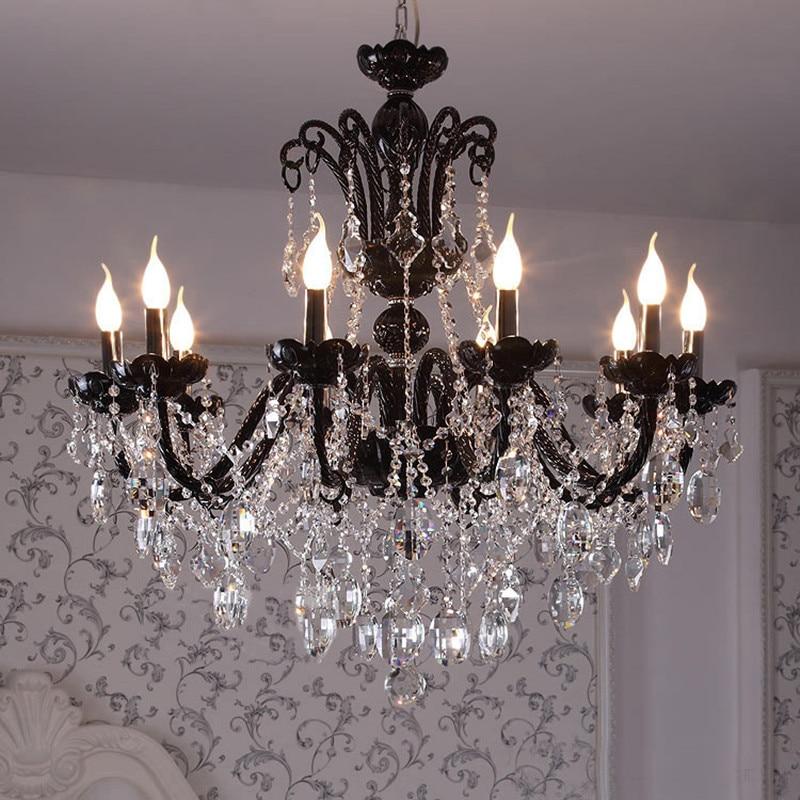 6-12 arm vintage Antique black chandelier home crystal lighting glass lamp living room hanging light lustres de cristal lamparas one light frosted glass antique rust hanging lantern