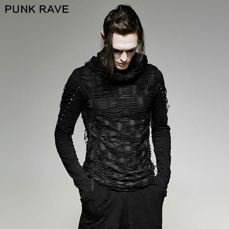 חדש פאנק רווה רוק אופנה מזדמן שחור גותי חידוש ארוך שרוול גברים חולצה T438 M XXL
