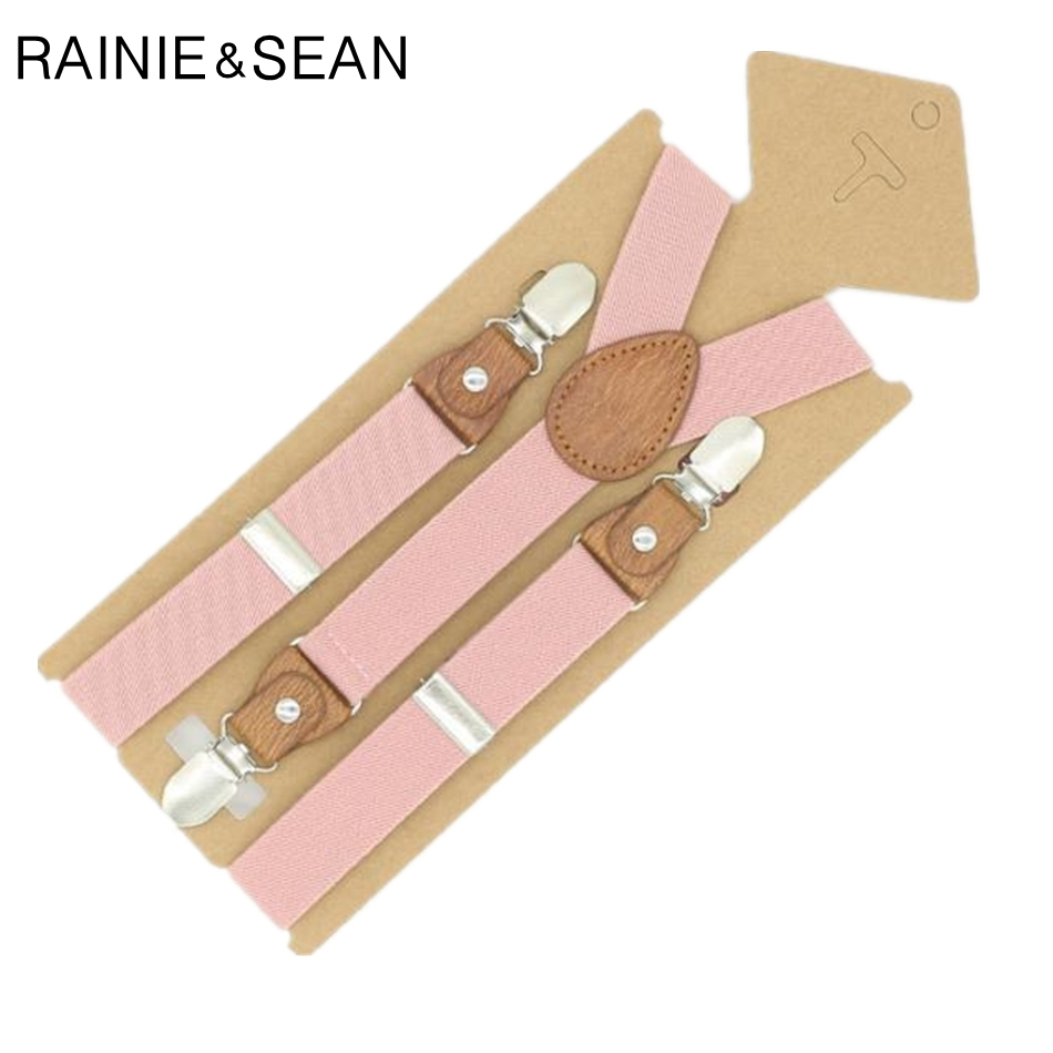 RAINIE SEAN Suspenders For Children Pink Boys Girls Braces Child Solid Red Blue Retro Pants Strap Clips Suspensors For Child