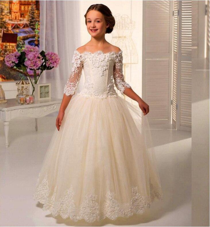 New Fashion White Lace Children Wedding Dress Flower Girls Piano Dance Show Dresses  Princess Mesh Handmake Birthday Party 12be8953ef23