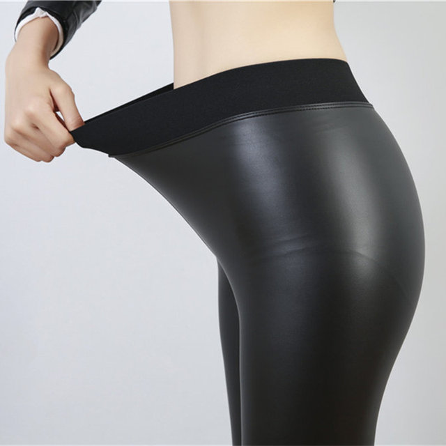 dec80302f32 Women Sexy Black Elastic WAIST Leggings Leather Legging High Waist Pants  Leggings Casual Warm Solid Faux Leather Leggins