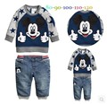 2015 new arrival Girls Clothing set Minnie t-shirt + pants suit 2pcs/set baby jeans casual long-sleeved t-shirt dot leggings set
