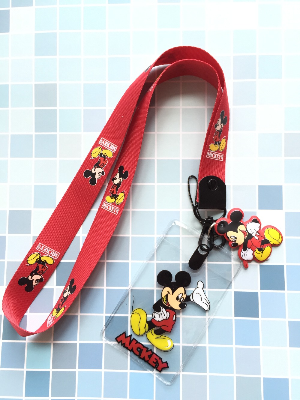 New lot 30 pcs Cartoon mickey Lanyard Key Chains Pendant party Gifts Neck Strap Card Bus