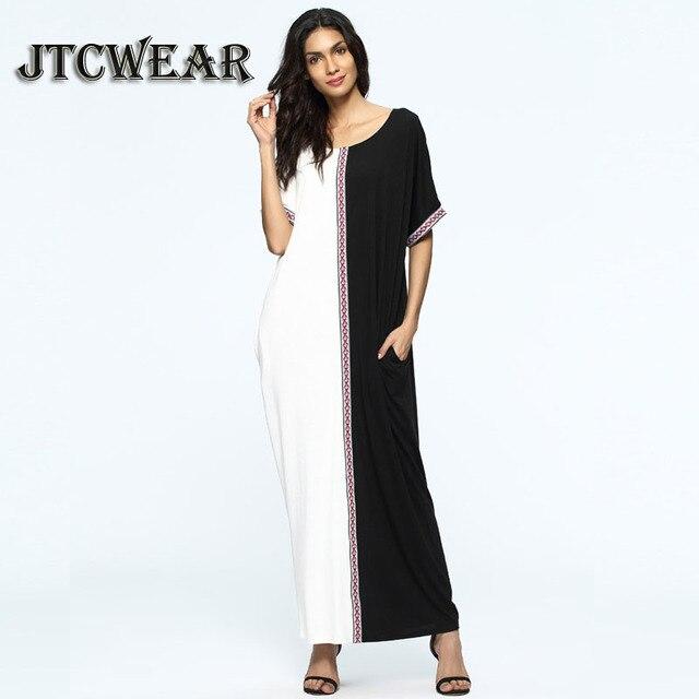 309cc271726 JTCWEAR Black White Islamic Abaya Dress Maxi Short Sleeve long Caftan Dress  Moroccan Kaftan U Neck Lady Muslim Robes Gown 454