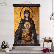 Virgin Mary Single Framed Scroll Painting Modern Canvas Art Prints Poster Wall  Artwork Pictures Home Decor
