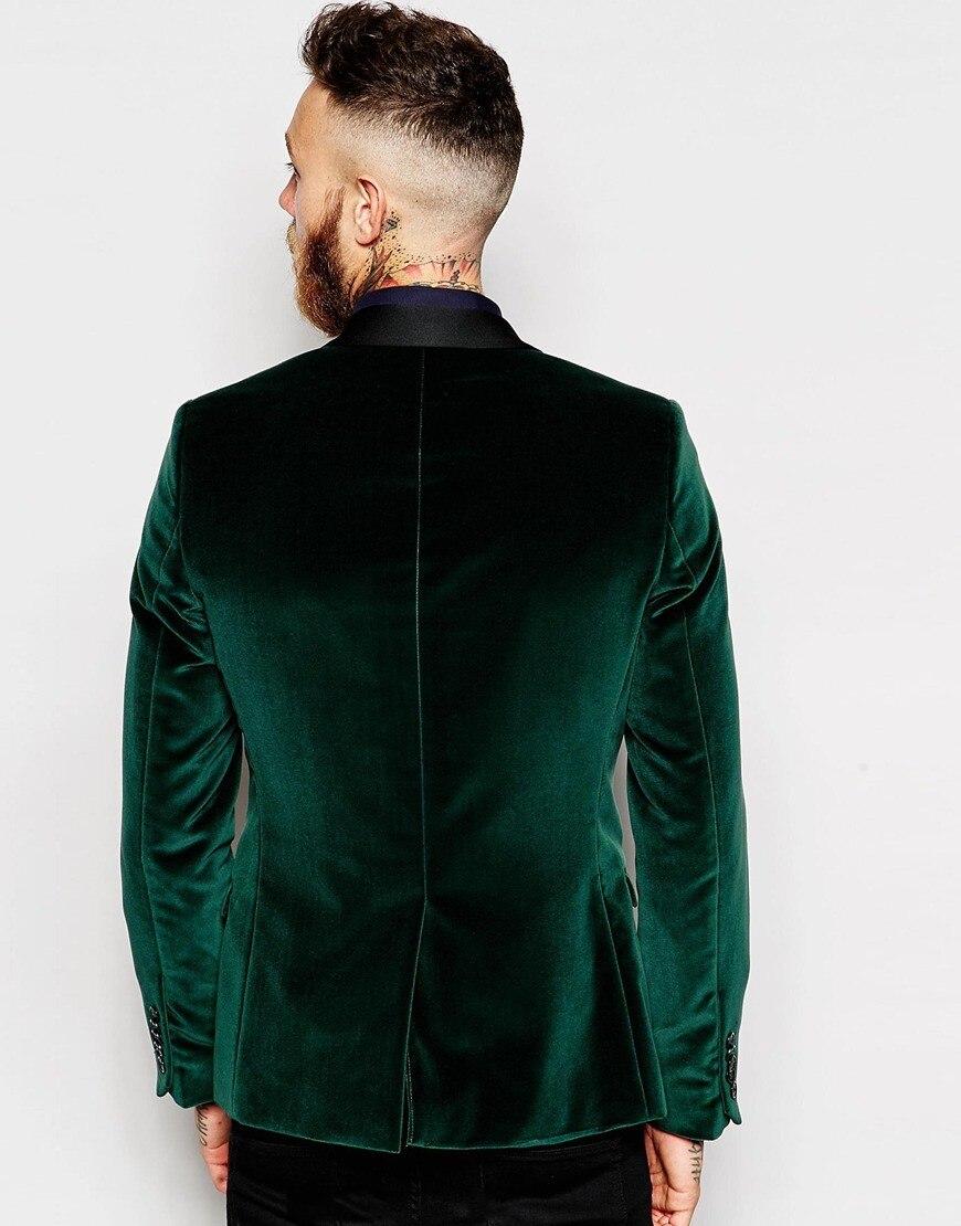 Groomsmen Shawl Black Lapel Groom Tuxedos Velvet Green Jacket Men Suits Wedding Best Man (Jacket+Pants+Tie+Hankerchief)