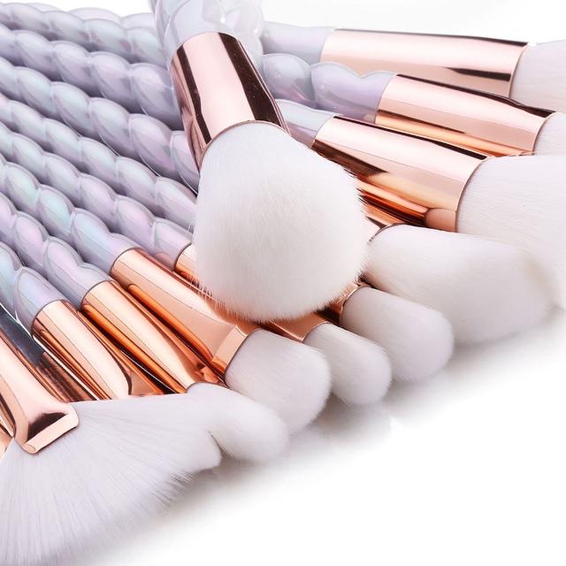 RANCAI Professional 10pcs Makeup Brushes Set Powder Foundation Blush Face Shading Eyebrow  White Handle Cosmetics Makeup Brushes 4