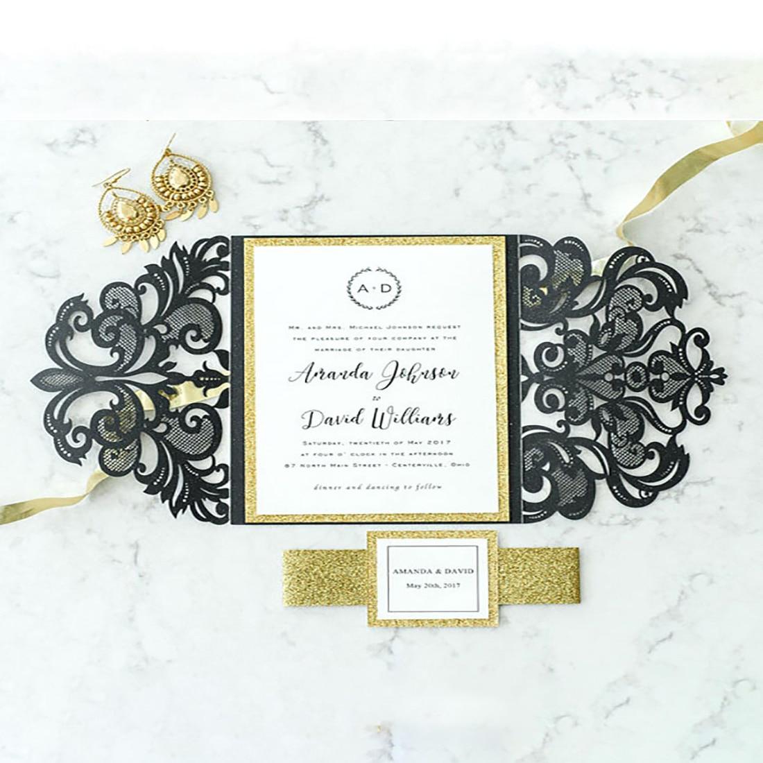 100Set Design Black Fold Flower Laser Cut Invitations Card For ...