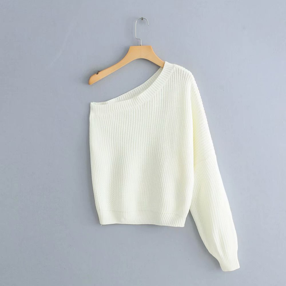 2019 New Spring Women Fashion One Shoulder White Sweater Ladies Basic Knitted Casual Loose High Street Sweaters Chic Tops S069