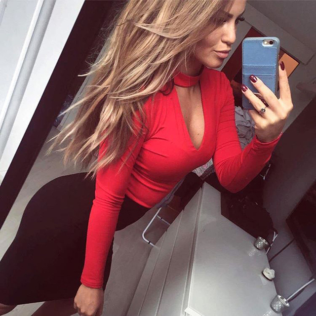 2019 Sexy Womens Long Sleeve Bodysuit Choker Romper Deep V Neck Bodycon Body Suit One Piece Fitness Overalls For Women