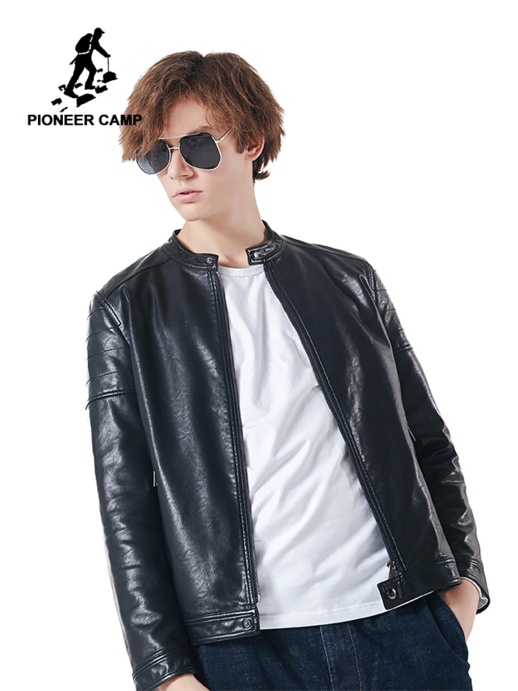 Pioneer Camp New Leather-based Jacket Males Model Clothes Autumn Winter Stand Collar Motorbike Leather-based Coat Male High quality Ajk801448