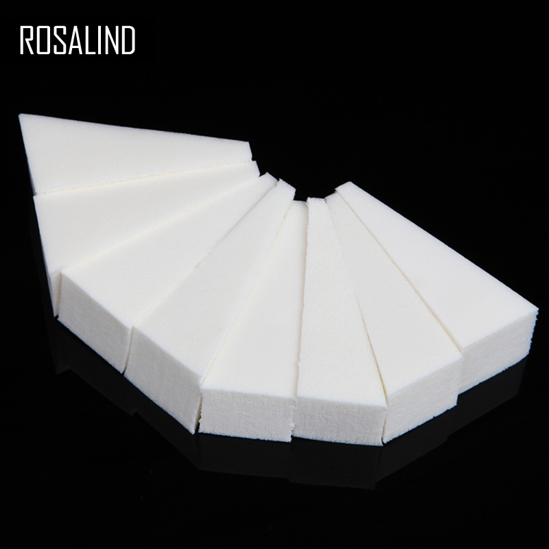 ROSALIND 8Pcs/Set White Triangle Sponge For Nail Art Sanding Files Tool For DIY Gradiented Color Nail With Base&Top Coat