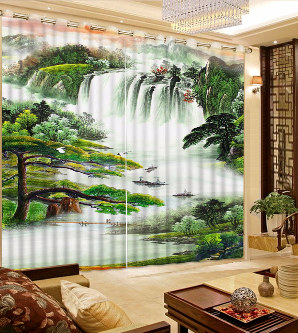 Chinese Large 3D mountain river Landscape Curtains For Living room Bedroom Hooks Polyester Blackout Window Curtain 2 pieces