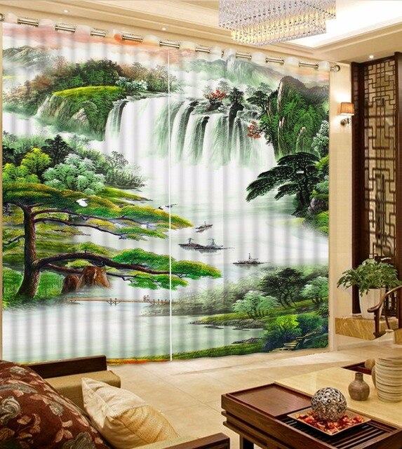 US $69.87 49% OFF|Chinesische Große 3D mountain river Landschaft Vorhänge  Für wohnzimmer Schlafzimmer Haken Polyester Blackout Fenster Vorhang 2 ...