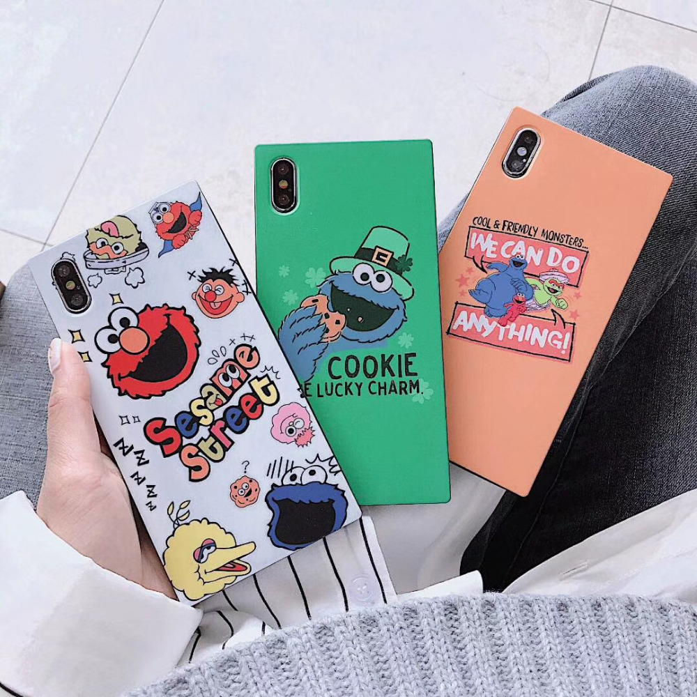 KAIEN Square funny cute cartoon Sesame Street Fashion soft cover for Apple Mobile phone case for iPhone 6 6s 7 8plus X XR XS MAX