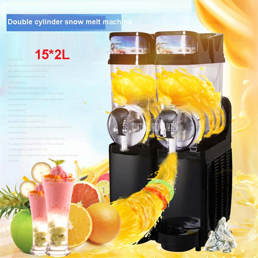 Shipping by sea TKX-02 110V/220V Commercial Slush machine 15L*2 Snow melting Two Tank Ice Slusher Cold drink dispenser Smoothies edtid new high quality small commercial ice machine household ice machine tea milk shop