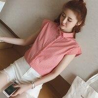 2018 Hot Sale New Blusas Femininas Plus Size Women Sweet Small Check Shirts Sleeve Turn Down Collar Blouse Female Tops Blusa