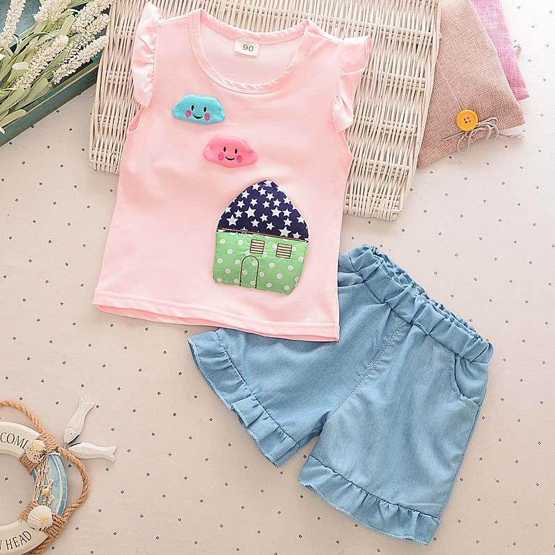 Bibicola children girl  cotton clothes Summer clothing set Toddler sleeveless two-piece suit shirt girl vest