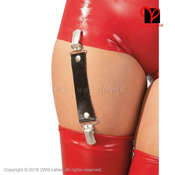 Ligas sexy de Látex preto suspensor de Borracha Elástica Meias cinto Clipe XXXL Gummi Suspensórios Meias Altas cintas cinto mais DWD-006