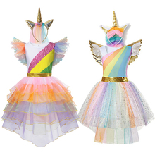 Girls Unicorn Dress up Costume Kids Halloween Ball Gown Cosplay Princess Children Birthday Unicorn Party Fancy Dress Clothing fancy girl unicornio dresses princess girls cosplay dress up costume kids party tutu gown clothing for girls unicorn costume