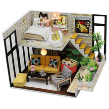 DIY Doll House Miniature With Furnitures Wooden House Model Handmade Assembled Toys Children Gifts Cynthia's Holiday M031 #E(China)