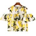 Cute Lemon Printing Blouse Women Cotton And Linen Blusa Round Neck Off The Shoulder Plus Size Shirt Casual Plus Sizes Blusa