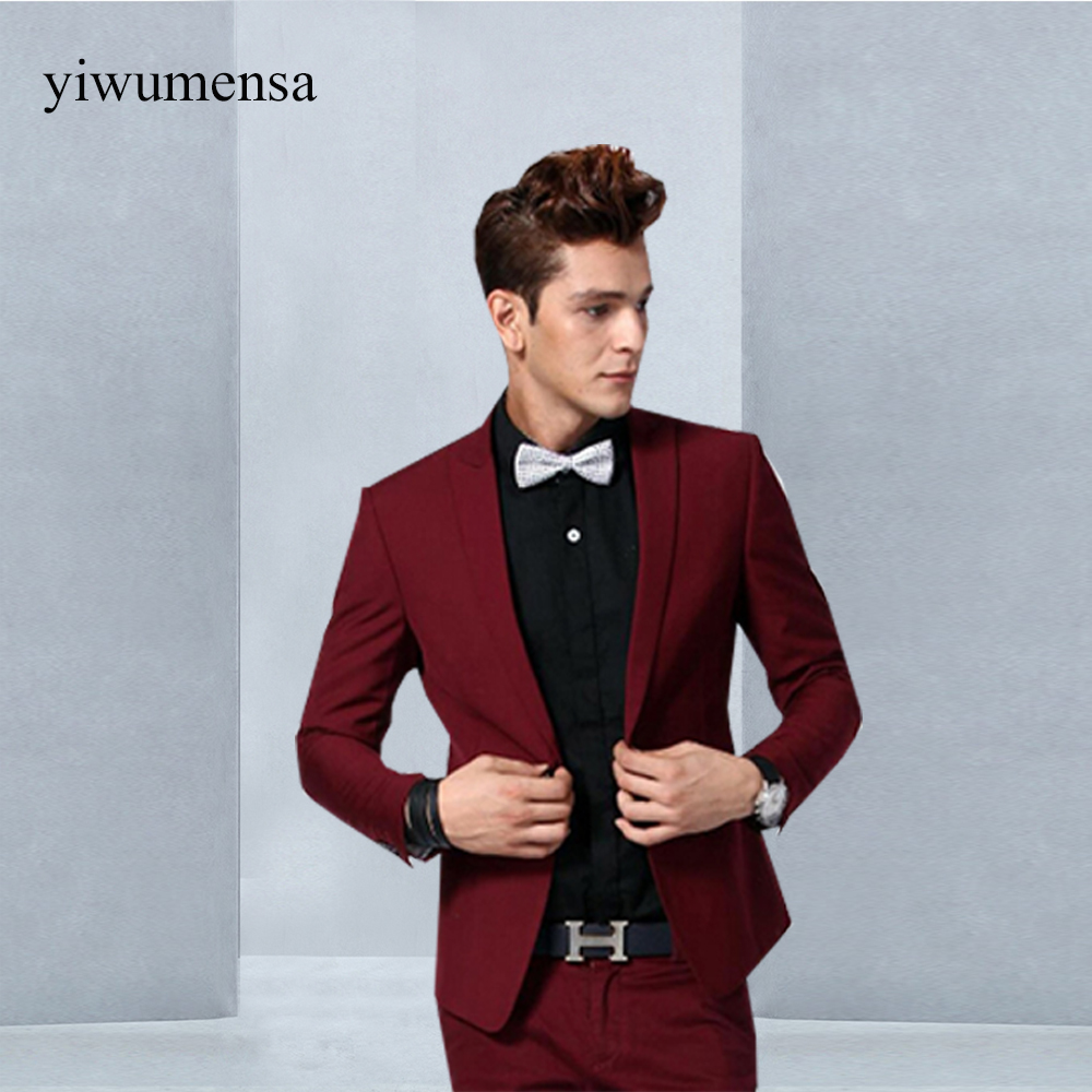 New Arrivals Burgundy Wine Red Velvet Men Suits Slim Fit 3 Piece ...